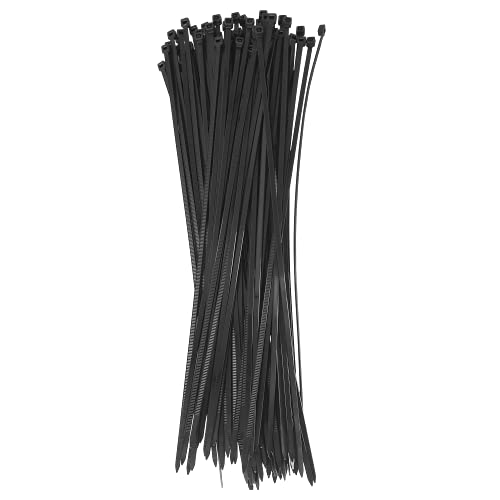 Typicshop Bridas de Plástico para Cables 3,6mm x 300mm, Negro, 100 unidades