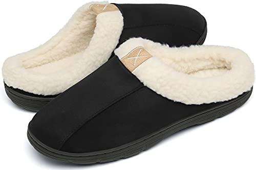 DAFENP Zapatillas Casa Hombre Pantuflas Invierno Espuma de Memoria Cálido Forro de Felpa Antideslizante Zapatos Interior y al Aire Libre XZ1016-Black-EU42/43
