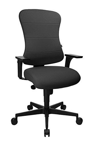 Topstar Art Comfort mit Federkernkissen und inkl. höhenverstellbare Armlehnen, Bürostuhl, Stoff, anthrazit
