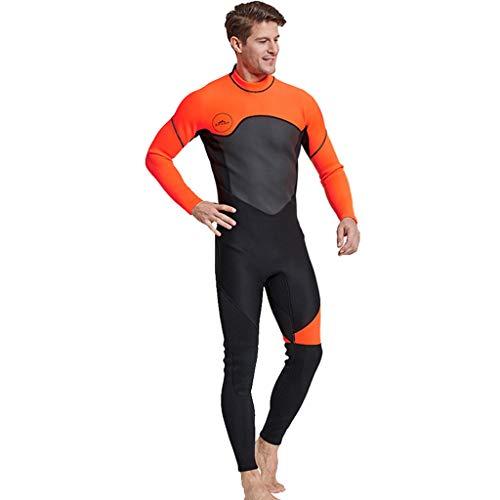 AIni Herren Neoprenanzug,Wetsuit Schwimmen Surfanzug Surfen Tauchen Sport Badeanzug Wetsuit 3MM Ganzkörperanzug Super-Stretch-Tauchanzug Schwimmen Surfen Schnorcheln(XL,Orange)