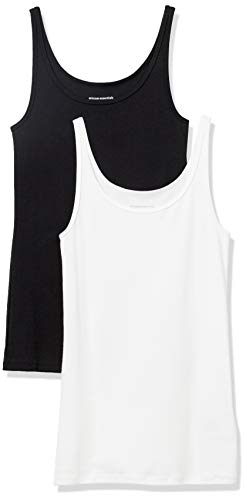Amazon Essentials Women's 2-Pack Slim-fit Thin Strap Tank, Black/White, Small