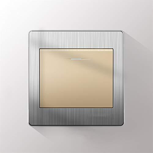 Foicags Panel Rocker Interruptor 86 Tipo Oculto Rocker 304 Alambre de acero inoxidable Interruptor de botón Interruptor Interruptor de Luz Interior Retro Panel de control de pared