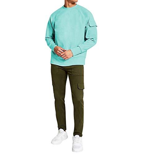 Btruely Hose Herren Jeans Groß Größe Freizeithosen Männer Hosen Fit Distressed Jeans-HoseHerren Langarm Rundhals Utility Sleeve Übergroße Sweatshirt Tops Bluse