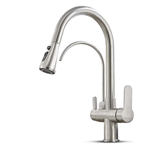 MENATT Filter Kitchen Faucet with Drinking Water Faucet, High Arc Pull Down 3-Way Kitchen Faucet, 3 in 1 Sink Cold and Hot Mixer Tap (Brushed Nickel)