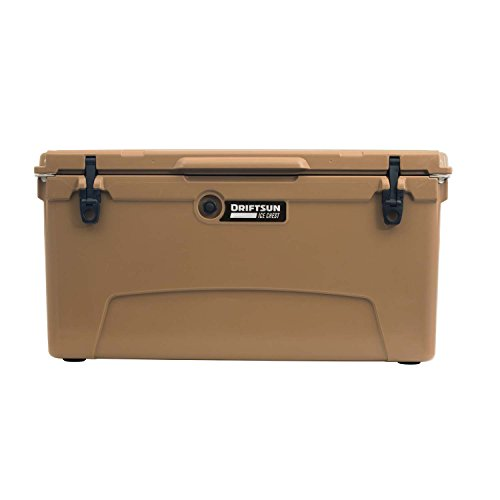 Driftsun 110-Quart Ice Chest, Heavy Duty, High Performance Roto-Molded Commercial Grade Insulated Cooler, Tan
