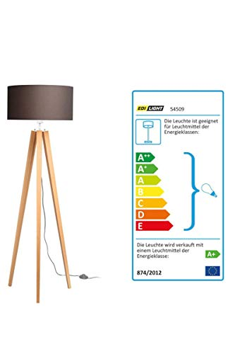 Livarno Lux LED-Stehleuchte/Lampenschirm Textil mit Holzfüßen