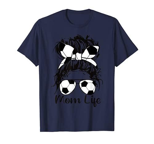 Calcio mamma divertente palla da calcio occhiali Bow mamma vita Maglietta