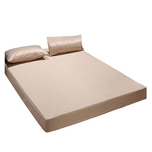 QIANGU Protector De Colchón Tejido En Relieve 3D Impermeable Funda Colchón Protección contra La Humedad Comodidad para Dormir (30 Cm De Profundidad) (Color : Brown, Size : 200x220+30cm)