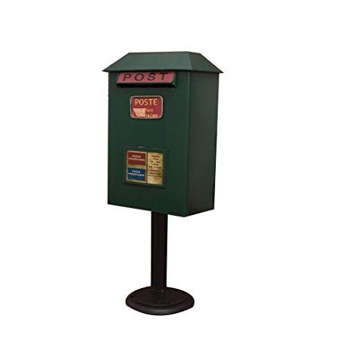 JIAHE115 Inductie vuilnisbak Buiten vloer-mail mailbox, vintage smeedijzer mailbox waterdicht - Hoogte 50 cm groen Huishoudelijke decoratieve opbergbak