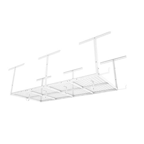 FLEXIMOUNTS 4x8 Overhead Garage Storage Rack w/Hooks Adjustable Ceiling Storage Racks, 96' Length x 48' Width x 40' Height, 22''-40' Ceiling Dropdown, White