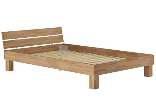 Erst-Holz Französisches Bett Futonbett Doppelbett 140x200 Massivholzbett Buche Natur Rollrost 60.86-14