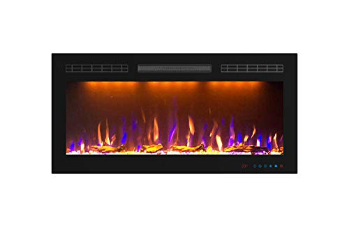 Mystflame Electric Fireplace, In-Wall Recessed and Wall Mounted Fireplace Heater 1500/750W, 36 Inch Wide slim frame Linear Fireplace with Log & Crystal Hearth Options, Multicolor Flame, Remote Control