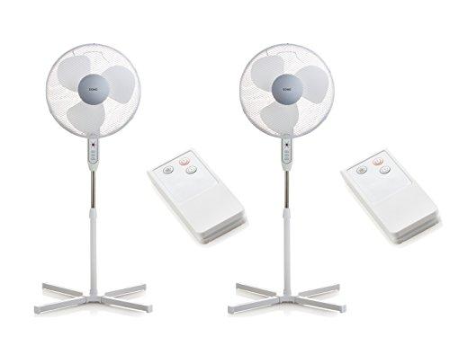 Staande ventilator met afstandsbediening in 2-delige set, Ø 40 cm, 3 snelheden.