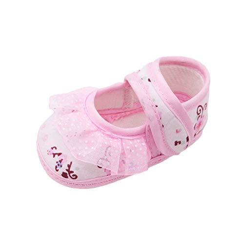 Sinwasd Zapatos para niños pequeños Sandalias recién nacidos Baby Girls Zapatos suaves con suela de encaje estampado floral Calzado Cuna Zapatos 0-18 meses