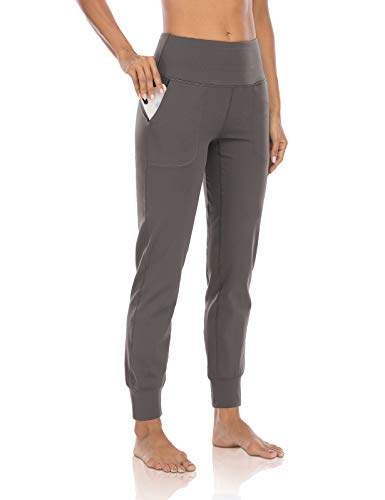 DIBAOLONG Womens Yoga Sweatpants High Waist Lightweight Workout Tapered Joggers Comfy Lounge Pants with Pockets Gray Brown M