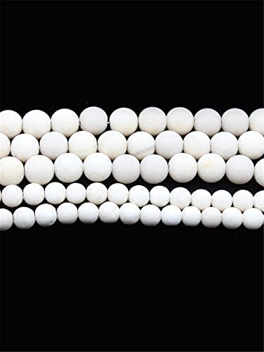 Cuentas naturales de piedra de fósiles blancos mate de piedra de río lisa y redonda suelta perlas 4 6 8 10 12 mm para hacer joyas DIY pulsera 15 pulgadas blanco 12 mm aproximadamente 30 cuenta