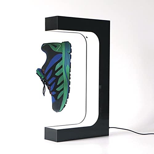 EnweKapu Levitacion Magnetica Plataforma,Levitacion Magnetica Estanterias Zapatos,Exhibición de Zapatillas con Luces LED,Rotación 360°, Sostiene 350-600G Peso, para Favoritos,Negro