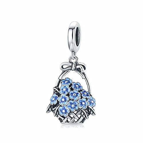 Qings Canasta de Flores Azul Con Abalorios Colgantes Adecuados Para Pulsera Original, Collar Con Cuentas