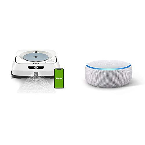 iRobot Braava m6 (m6134) Wischroboter mit WLAN, Präzisions-Sprühstrahl und erweiterter Navigation, App-Steuerung + Echo Dot (3. Gen.) Intelligenter Lautsprecher mit Alexa, Sandstein Stoff