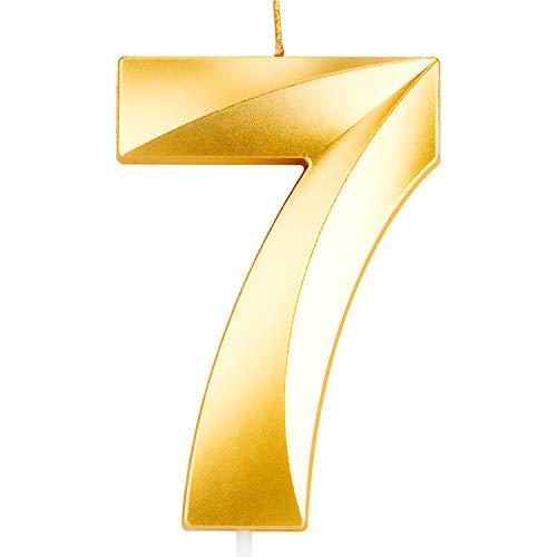 LUTER Gold Glitter Candles Pastel de Feliz Cumpleaños con Diseño Plegable - Número de Velas Número 7 Vela de Cumpleaños, Decoración de la Torta para Fiestas de Niños Adultos - 9.5 cm