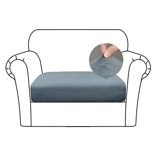 Caijin Sofa Sitzkissenbezug weicher Samtstoff Couch Kissen Schonbezug Stretch Samtstoff Elastischer Unterseite(1-Sitzer,Grau)