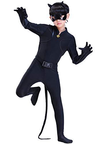 FStory&Winyee Kinder Ladybug und Cat Noir Kostüm Set mit Augenmaske Gürtel Kopfschmuck Junge Jumpsuit Schwarz Cosplay Karneval Verkleidung Party Halloween Fest Faschingkostüme 110-150 3-11 Jahre