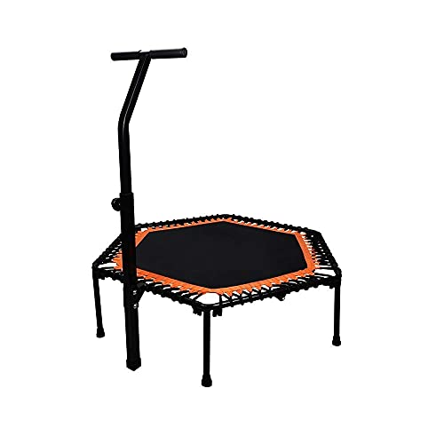 Deportes al aire libre Los niños adultos rebote el trampolín del trampolín, elegante y simple 50 pulgadas de trampolín de fitness, trampolín silencioso con reposabrazos ajustables, adecuado para entre