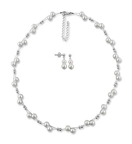 Rivelle Damen Brautschmuck 2er Set weiß Schmuckset Perlen Kette Collier Ohrringe Hochzeit Geschenkbox
