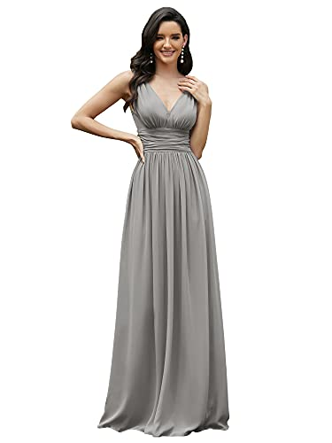 Ever-Pretty Womens Elegant Double V Neck Maxi Fomral Party Dress 4 US Gray