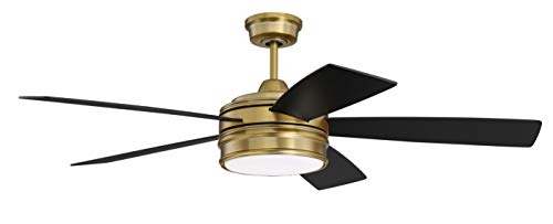 Craftmade Ceiling Fan with LED Light and Remote BRX52BCP5 Braxton...