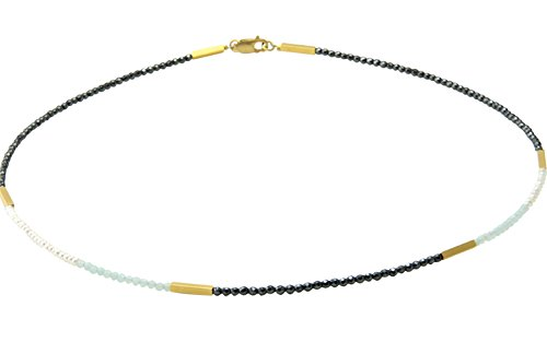Edelstein Halskette mit Hämatit/Amazonit/Perlen (Sterling Silber 925) - hochwertige Goldschmiedearbeit
