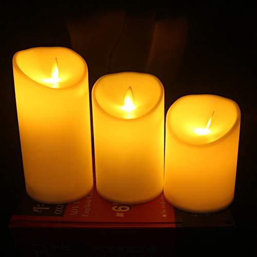 ZHQIC 3uds/lámpara de Vela LED sin Llama Columpio Llama Amarillo LED operado con Velas Luces nocturnas Boda Fiesta decoración del hogar