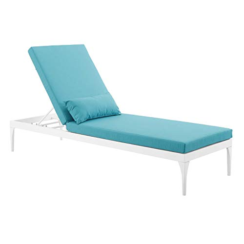 Modway Perspective Aluminum Outdoor Patio Chaise with Cushions, Lounge Chair, White Turquoise