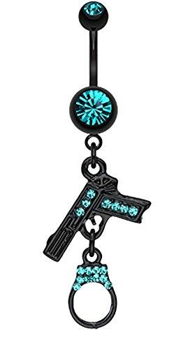 Blackline Handgun & Cuff Sparkle Belly Button Ring - 14 GA (1.6mm) - Teal - Sold Individually