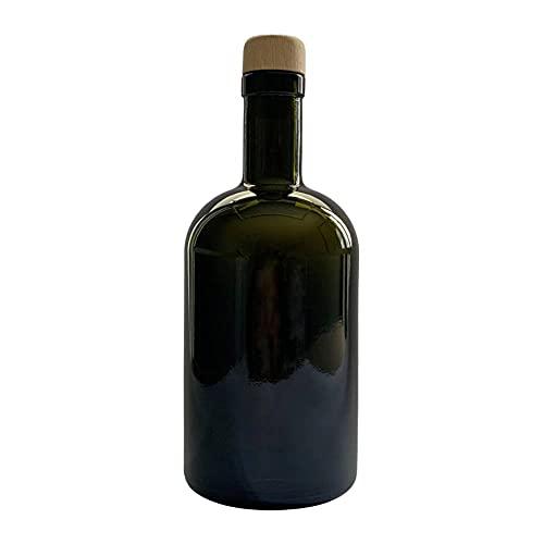 mikken Ölflasche 500 ml Glasflasche Ölspender für Olivenöl mit Ausgießer & Holzdeckel