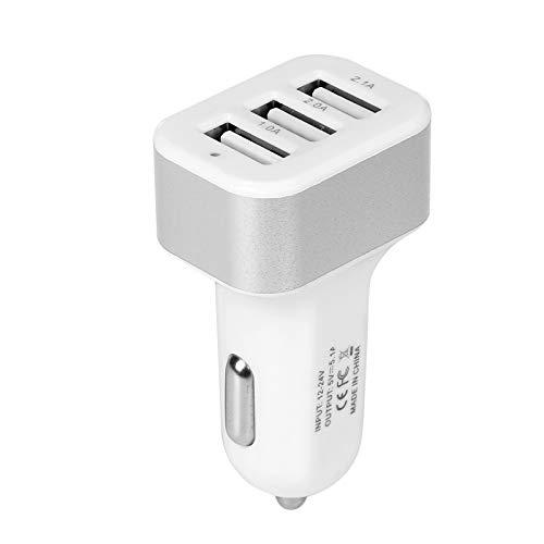 bysonice Cargador de coche universal de 3 puertos USB cargador de coche 12 V 5.1 A para iPhone 5 6S Plus, iPad, Samsung Galaxy S4 S5 Tablet