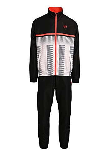 Sergio Tacchini Baron Tracksuit Herren Trainingsanzug, Black/Flash orange, M