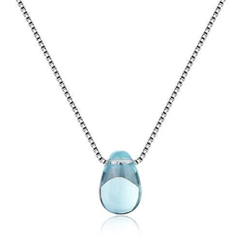 Chandler Sólido 925 collar de plata de ley para mujer transparente azul...