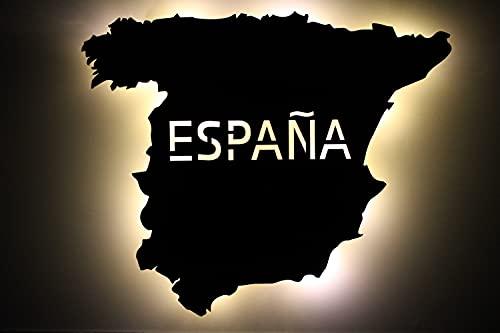 España España personalizada con texto deseado Spain grabado láser LED luz nocturna para dormitorio salón regalo