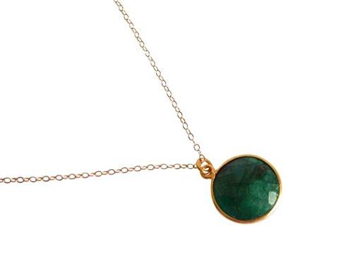 Gemshine - Damen - Halskette - 925 Silber - Vergoldet - Smaragd - Grün - CANDY - 45 cm