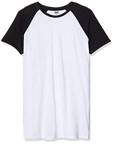 Urban Classics TB966 Herren Regular Fit T-Shirt Shaped Raglan Long Tee, Gr. Large, Mehrfarbig (wht/blk 224)