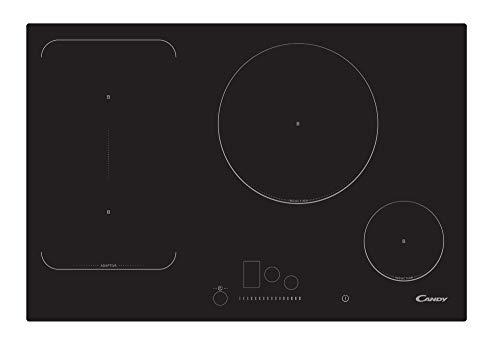 Candy cfi 82 encimera de inducción-Ancho 77cm-Zona Flex y 2 Zonas negro-1800 w, 7200 W, Vidrio y cerámica, 15 Velocidades, Negro