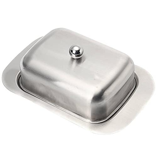 Komake Butterdose Edelstahl mit Deckel, Butterdose Metall Butterbehälter, Frischhaltende Käsebox,Frischhalte Dessert Behälter, für Restaurant Zuhause, Spülmaschinenfest
