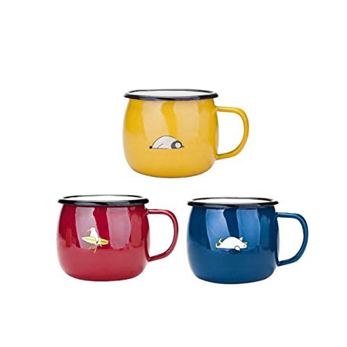 Kettle-HOT Kessel Geschenk-Emaille-Becher, Set 3 Trinkbecher 430ml for Kinder und Erwachsene, Rot/Gelb/Grün/Blau, Tierdruck-Ticks, Spaß Präsens