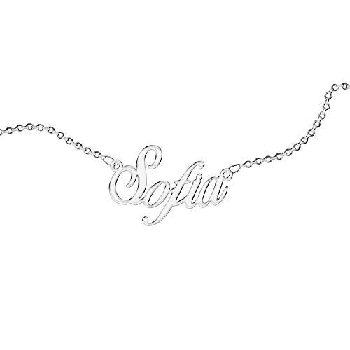 Collar Personalizado, para Mujer, con Nombre. Use su nombre. Acero inoxidable e hipoalergénico. Color plata. Diseñado en Italia. (Sofia)