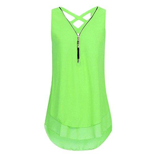 iHENGH 10 Farben Damen Lose Übergröße Ärmelloses Tanktop Kreuz zurück Saum Gelegt Reißverschluss V-Neck T-Shirts Tops, S-5XL(Medium,Minzgrün)