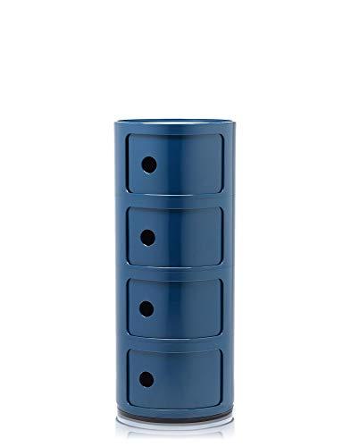 Kartell Componibili Contenitore 4 Elementi, Base Tonda, ABS, Blu, 32 x 32 x 77 cm