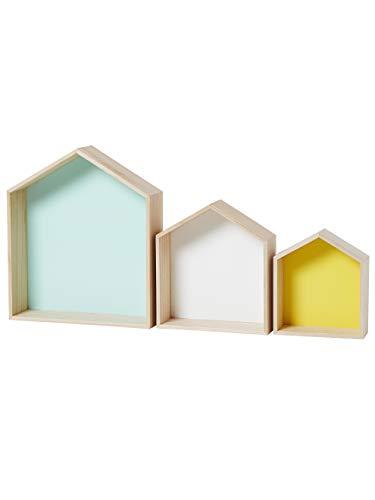 VERTBAUDETLote de 3 estanterías casitasMadera/multicolorUNICA