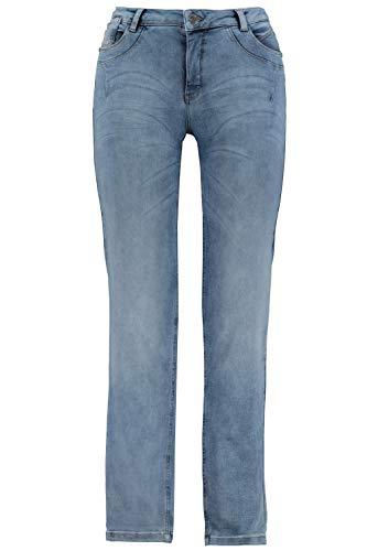 GINA LAURA Damen Jeans Julia, Saumschrift, schmale 5-Pocket-Form Blue Bleached 42 722964 92-42