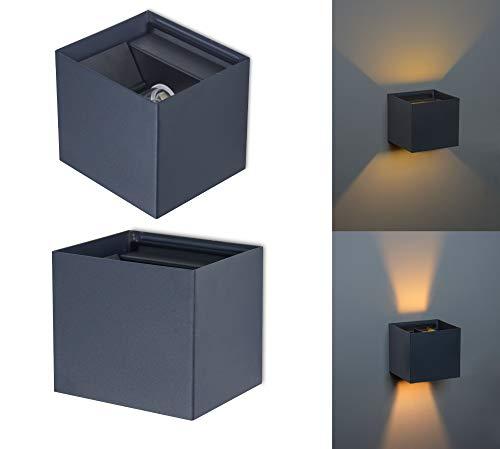 Trango 8015-01A Foco de pared Up & Down IP44 *FLEX* en antracita mate angular con ángulo de haz ajustable incl.1 fuente de luz LED G9 de 3,5 vatios, aplique para interior y exterior, foco de exterior